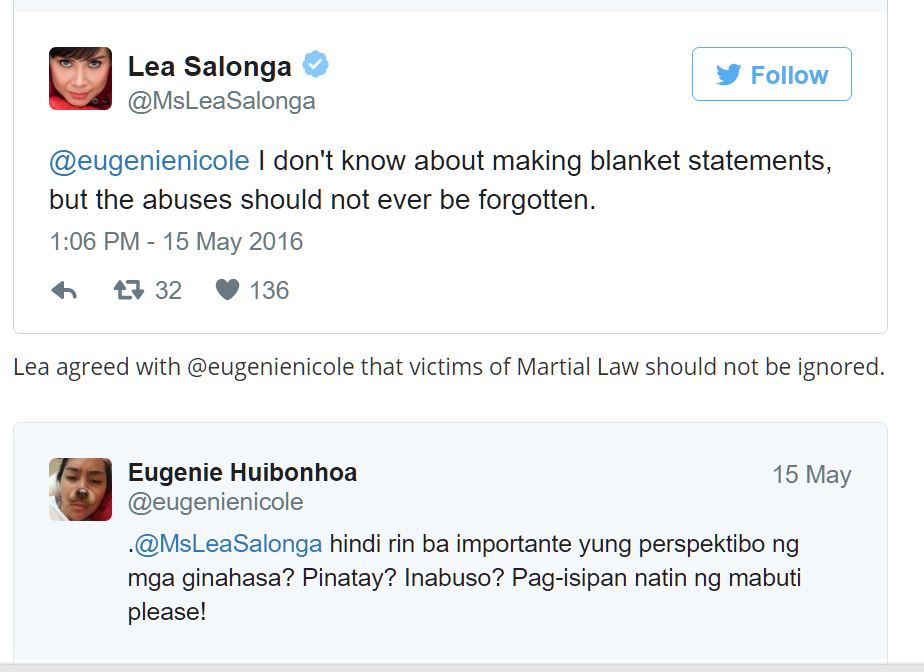 READ: LEA SALONGA's OPINION ABOUT MARCOSES CREATE BUZZ ONLINE