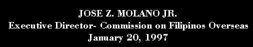 CFO Executive Director, JOSE Z. MOLANO, Chat Interview- January 20, 1997