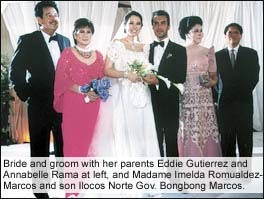 Bride and Groom with parents and Imelda Marcos