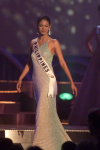 Miriam Quiambao, MISS PHILIPPINES 1999 competes in her choice of evening gown as the preliminary competition is underway May 21, 1999