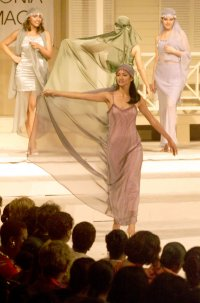 Miriam  dons the fashions of Trinidad & Tobago's foremost fashion designers at 'Batimamselle,' a special show staged at Queen's Hall in Port of Spain, Trinidad on May 17, 1999